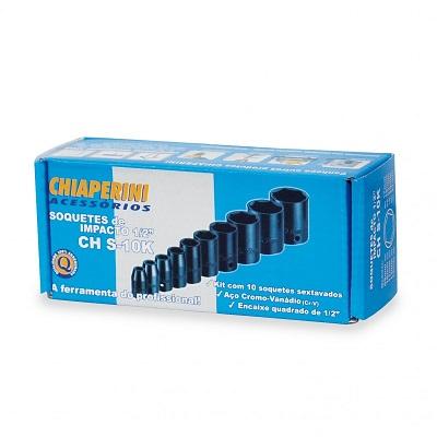 Ferramenta - Jogo de Soquete 1/2 9 A 27mm Sextavado Curto Impacto 10 Pecas 05938  Chs10k Chiaperini