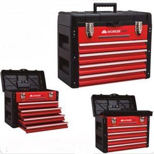 Ferramenta - Caixa de Ferramentas 4 Gavetas Bau Superior com Porta Parafusos 40 X 23 X 50 Cm 428337 Worker
