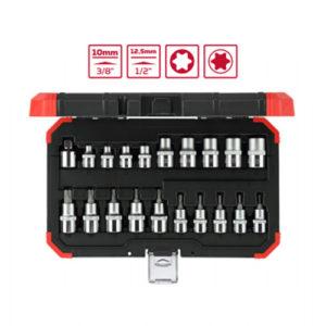 Ferramenta - Jogo de Soquete 3/8 e 1/2 E8 A E20 e T10 A T55 Torx 20 Pecas Ref R68003020 Gedore Red