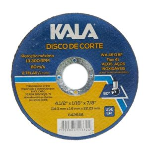 Ferramenta - Disco de Corte Aço Inox 4.1/2 115x1;6x22.23 Mm 842648 Kala