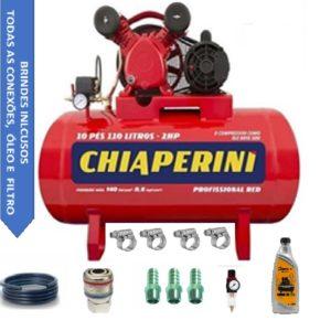 Ferramenta - Kit Compressor de Ar 10 Pés 140 Libras 110 Litros Mono + Brindes Chiaperini